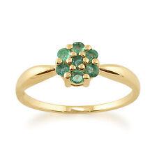 Anillos de joyería de oro amarillo esmeralda