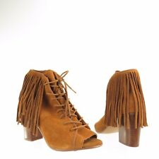73203cb279d Womens Steve Madden Newporte Shoes Brown Suede Ankle Open Toe Booties Sz 6 M  NEW