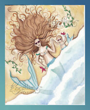 Washed Up Baby Mermaid print from Original Painting By Camille Grimshaw ocean