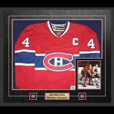 JEAN BELIVEAU Signed Jersey Framed Replica Montreal Canadiens Red FRAMEWORTH