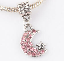 925 Silver CZ Moon and stars pendant Fit European Charm Bead Bracelet B#143