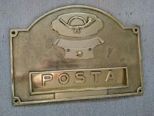 Large Solid Brass Letterbox with hunting horn and italian 'POSTA'