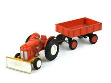 934 GAMA Mini 1:43 FIAT Traktor mit Räumschaufel + Anhänger Tracteur