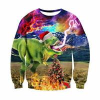 Mens Womens Christmas Dinosaur Xmas Sweatshirt Hoodie Sweater Jumper Pullover UK