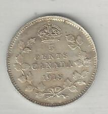 CANADA,  1918,  5 CENTS,  SILVER, KM#22, CHOICE ALMOST UNCIRCULATED