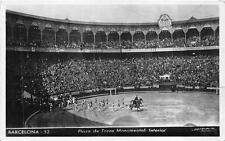 RPPC BARCELONA SPAIN BULL FIGHTING RING MONACO TO USA REAL PHOTO POSTCARD 1951