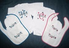 Personalized Monogram Baby Boy or Girl Name TWINS HAT BIB & CREEPER T Shirt SET