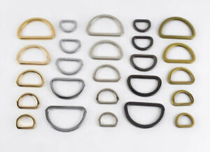 Flat Metal Solid D Rings 20/25/32/38mm Bag Hardware Strap Connectors 2pk