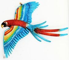 PARROT FLYING CRACKLE METAL GLASS PLAQUE WALL HANGING DECORATION FOR GARDEN 44CM