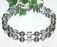 Halskette Kette Perlen Würfel grau Würfelkette Modeschmuck  437o