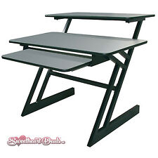 Quik-Lok Z-250 BK/GR 3-Shelf Computer Studio Desk Workstation Gray QuikLok