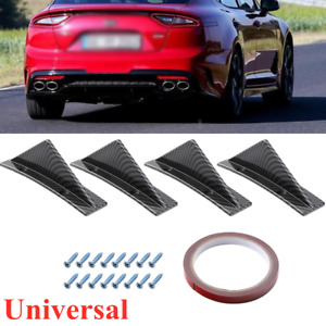 Universal Shark Fins 4 Wing Car Rear Bumper Lip Diffuser Splitter Spoiler