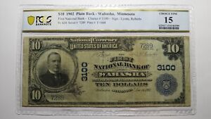 $10 1902 Wabasha Minnesota MN National Currency Bank Note Bill Ch #3100 PCGS F15