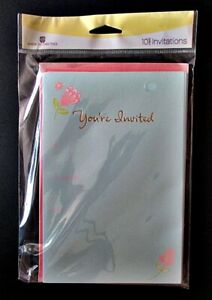 2 Packs of 10 American Greetings Invitations Blue & Pink 21 Sets Available