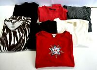 Lot of 7 Mixed Brands Women's Large Various T-Shirts Tops 3/4 Sleeve Turtleneck