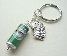 HEINEKEN Beer Lager Can KEYRING Silver POKER Playing Cards Charm   KCJ2741