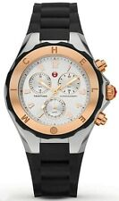 Michele Tahitian Jelly Bean Chronograph Black & Rose Gold Watch MWW12F000059
