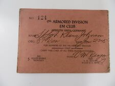 WWII 9th Armored Division EM Club Card - Ayreuth Area Germany 1945