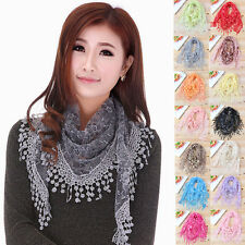 Hot Women Hollow Lace Tassel Sheer Long Scarf Floral Print Triangle Shawl Wraps