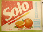 NORWAY SOFT DRINK CORDIAL LABEL, 1980s HANSA BRYGGERI BERGEN, SOLO ORANGE Lg 3