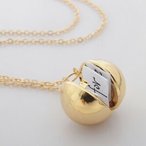 1pc Secret Message Ball Locket Necklace Pendant Friendship Friend Fashion Gifts