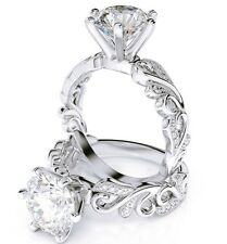 1.37 Ct Round Cut Diamond Solitaire Filigree Accents Engagement Ring F,SI2 EGL