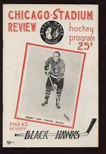 1961/62 NHL Program Toronto vs Chicago Black Hawks EX