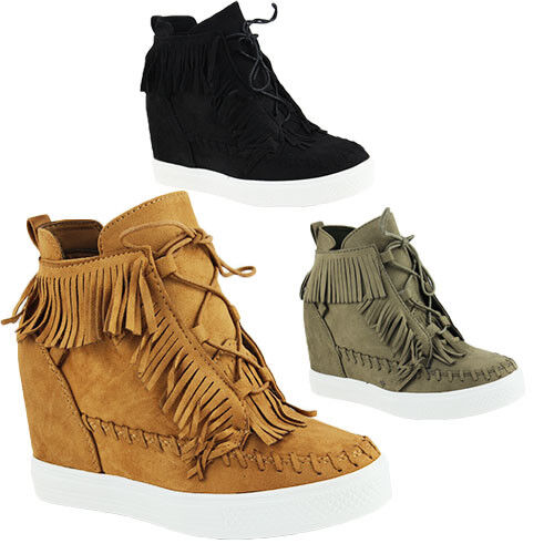 LADIES CASUAL FAUX WALKING SNEAKERS GLITTER FUR LACE UP PLATFORM FAUX CASUAL SUEDE Zapatos 3-8 73f436
