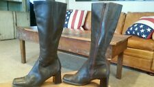 Nine West ZARRAS Brown Leather Knee High Boots With Chunky Heel Size 8 M