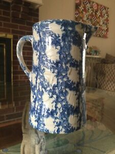 "Early Spongeware Stoneware ~ Raised ""AMERICAN BEAUTY ROSE"" Pitcher ~ ULTRA RARE"