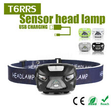 1200mAh LED Rechargeable Motion Sensor Headlamp USB Camping Headlight Lamp