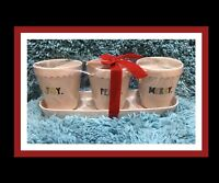 "NEW Rae Dunn ""Joy"", ""Peace"" & ""Merry"" Set of 3 Flower Pot/Planters W/Tray"