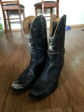 1940s Vintage Acme Cowboy Boots Leather Womens 8.5 40 Black Stars