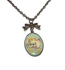 CUCCIOLO di elefante Cameo collana, bronzo stile vintage gioielli animale, Verde Menta