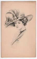 Antique 1900s Schlesinger Bros Postcard Woman Fashion Hat Victorian 1910 Vtg
