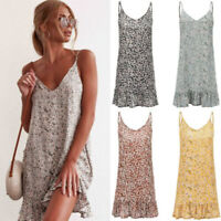 Boho Womens Sleeveless V Neck Floral Sundress Ladies Summer Beach Shirt Dress