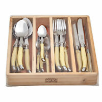 Chateau Laguiole Cutlery Set Stainless steel Blades w/ Gift Box Ivory 24pc