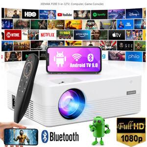 4K WiFi Bluetooth Mini LED Projektor Heimkino Beamer 1080P Halterung Android 9.0