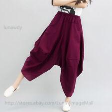 Vintage boho Asymmetric Harem Pants Women Loose Bloomers Cotton Linen Trousers