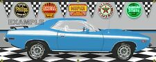1973 PLYMOUTH CUDA MOPAR PETTY BLUE GARAGE SCENE BANNER SIGN ART MURAL 2' X 5'