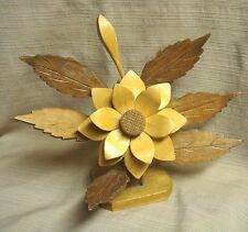 Handcrafted Wooden Flower & Leaf Free-Form Statue - One of a Kind - 9 Pcs