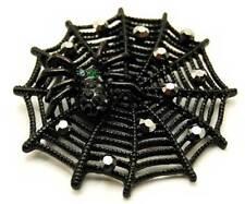 New Black Enamel Crystal Spider Cobweb Pendant Brooch in Gift Box Goth Halloween