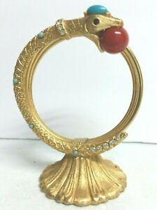 Swarovski Gold Signed Florenza Jeweled Rare Snake Letter Holder Mid Century 1960