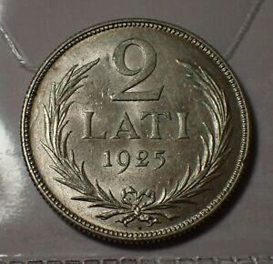 Latvia 2 Lati 1925 Silver Superb   WCA # A017