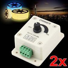 2 X LED Light Protect Lamps Strip Dimmer Adjustable Bright Controller 12V-24V F@