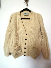 Vintage L 100% Wool Donegal Knitters Ireland Chunky Knit Cardigan Large Cable M