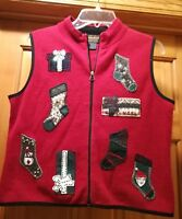 Woolrich  Zip Up Ugly Christmas Vest Size M Presents and Stockings