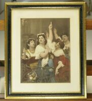 Antique Print:  Hand colored and painted etching. Four women celebrating with ca