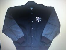World Series of Poker Leather Jacket Black Leather sleeves Wool body New large