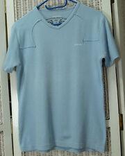 """DIESEL T-Shirt Top M-L 38"""" Bust Women's Light Blue Sewn Applique Venemous Trails"""